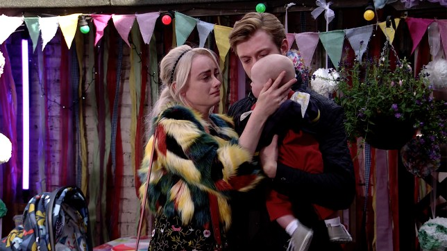 Sinead Tinker with her son Bertie and husband Daniel on Coronation Street