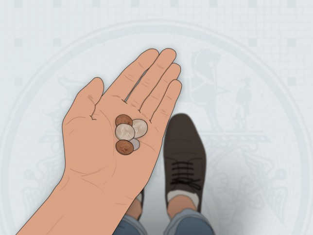 An illustration of a person's hand, holding some coins