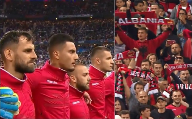 Albania's players looked puzzled as they listened to Andorra's national anthem