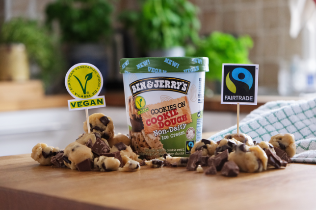 Vegan cookies on cookie dough non-dairy ice cream from Ben & Jerry's