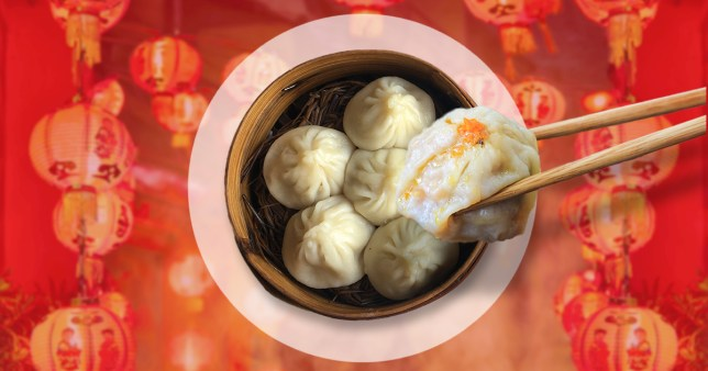 Dumplings in a bowl and one held by chopsticks on a red/orange background