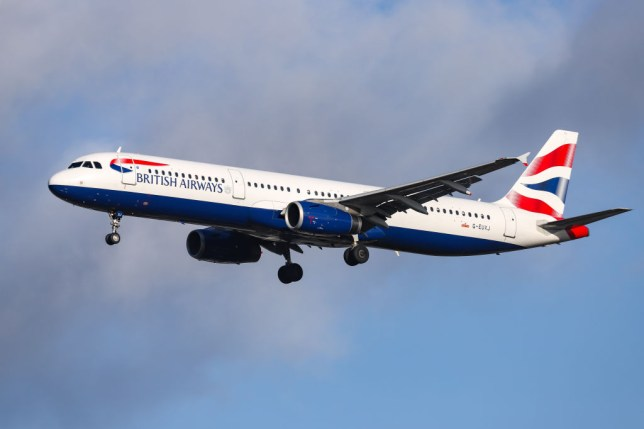 A British Airways plane flying after leaving Heathrow airport