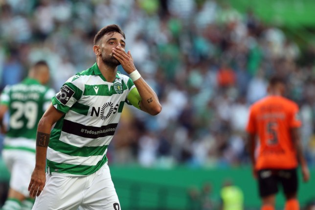 Bruno Fernandes blows a kiss to Sporting Lisbon fans after scoring against Rio Ave