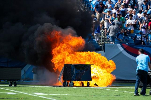 Fire at Nissan Stadium