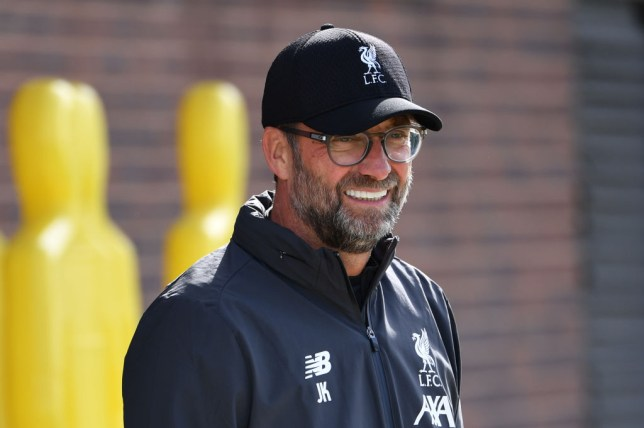 Jurgen Klopp looks on during a Liverpool training session