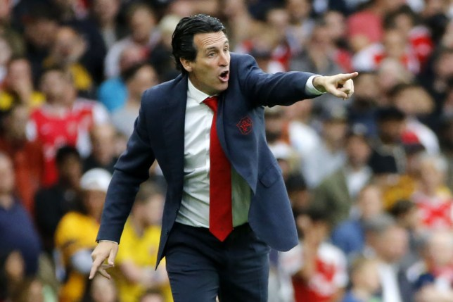 Arsenal manager Unai Emery shouts instructions from the touchline
