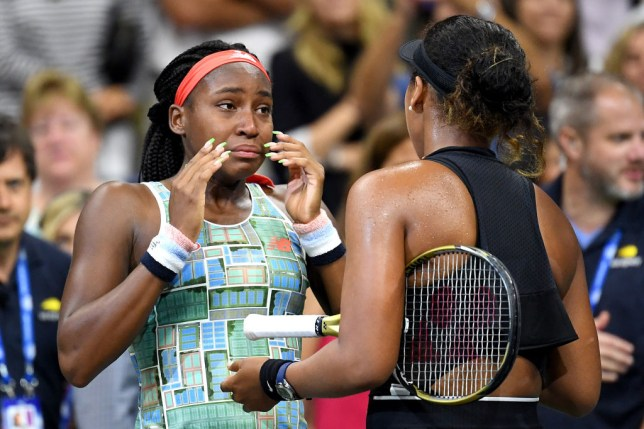 Coco Gauff fights back the tears while talking to Naomi Osaka on court