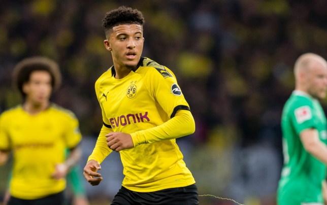 Manchester United transfer target Jadon Sancho looks on while playing for Borussia Dortmund