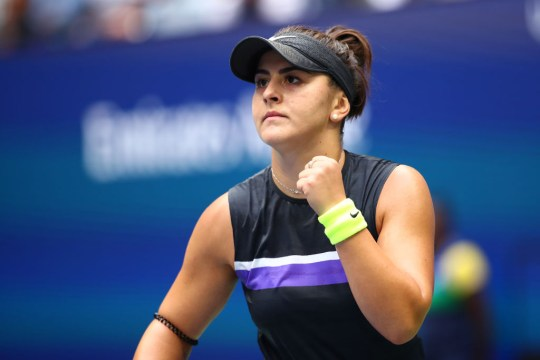 Bianca Andreescu celebrates during her US Open win against Serena Williams