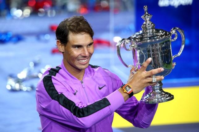 Rafael Nadal holds the US Open trophy aloft