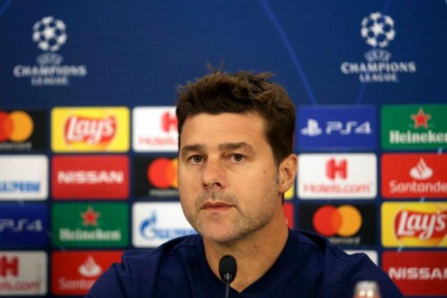 Mauricio Pochettino addresses the media before Tottenham's game against Olympiacos