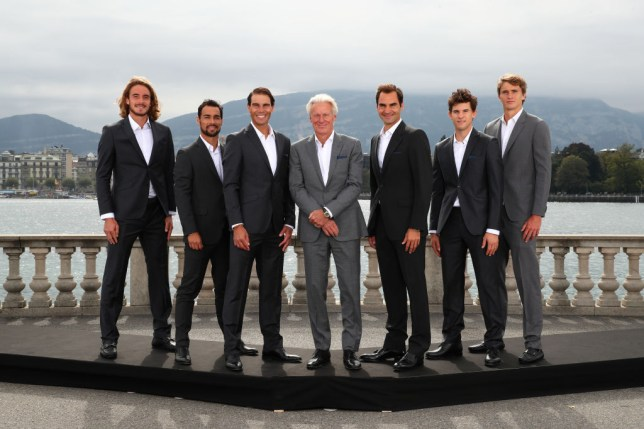 Stefanos Tsitsipas, Fabio Fognini, Rafael Nadal, Bjorn Borg, Roger Federer, Dominic Thiem, and Alexander Zverev of Team Europe pose for a photo prior to the Laver Cup 2019