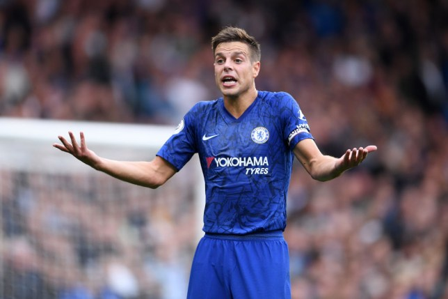 LONDON, ENGLAND - SEPTEMBER 22: Cesar Azpilicueta of Chelsea gestures after his goal was ruled out by VAR during the Premier League match between Chelsea FC and Liverpool FC at Stamford Bridge on September 22, 2019 in London, United Kingdom. (Photo by Laurence Griffiths/Getty Images)
