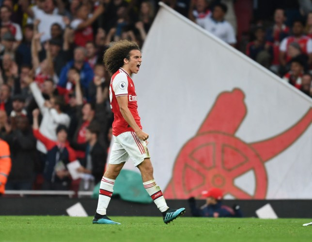Matteo Guendouzi celebrates after Arsenal's win against Aston Villa
