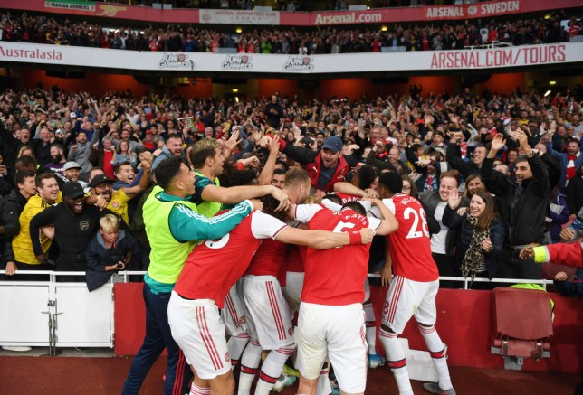 Dani Ceballos celebrates wildly after Pierre-Emerick Aubameyang nets late Arsenal winner