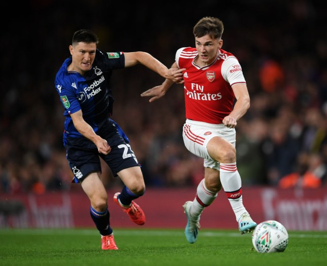 Kieran Tierney made his Arsenal debut against Nottingham Forest in the Carabao Cup