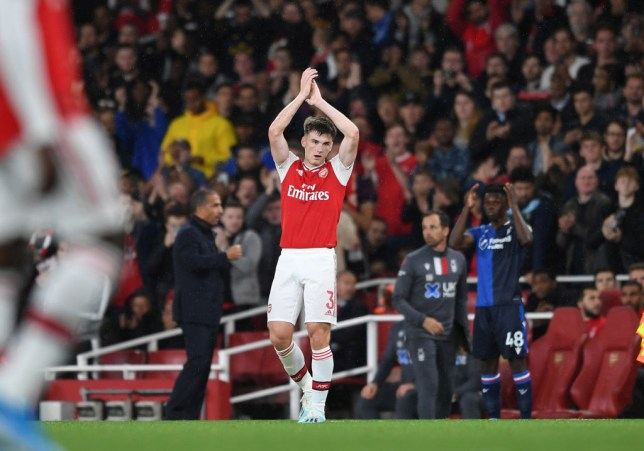 LONDON, ENGLAND - SEPTEMBER 24: Kieran Tierney of Arsenal claps the fans as he leaves the pitch during the Carabao Cup Third Round match between Arsenal and Nottingham Forest at Emirates Stadium on September 24, 2019 in London, England. (Photo by David Price/Arsenal FC via Getty Images)