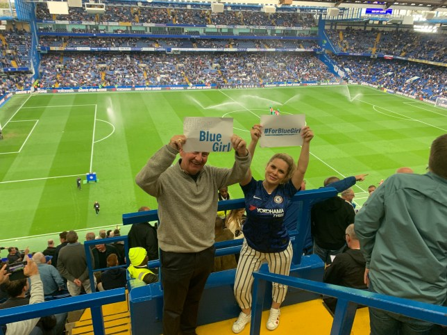 Author Lauren O'Connor at Chelsea football stadium with her dad with #ForBlueGirl posters