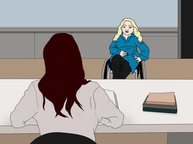 Illustration of woman sat in wheelchair in front of another woman, sat at a table