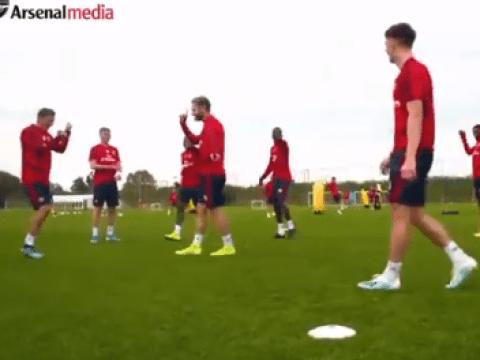 Kieran Tierney nutmegs Shkodran Mustafi on return to full training for Arsenal