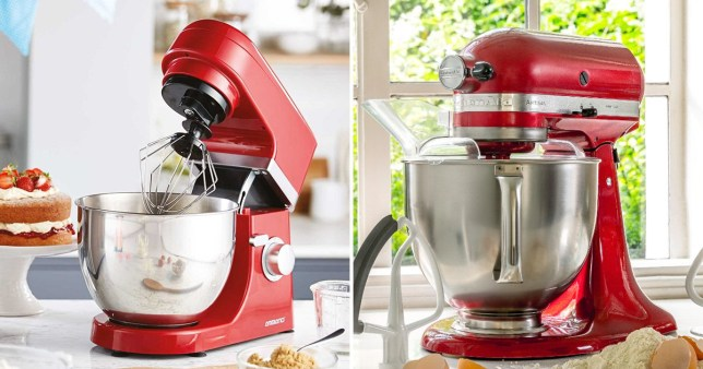 On the left, the Aldi mixer and the right, the Kitchen Aid version
