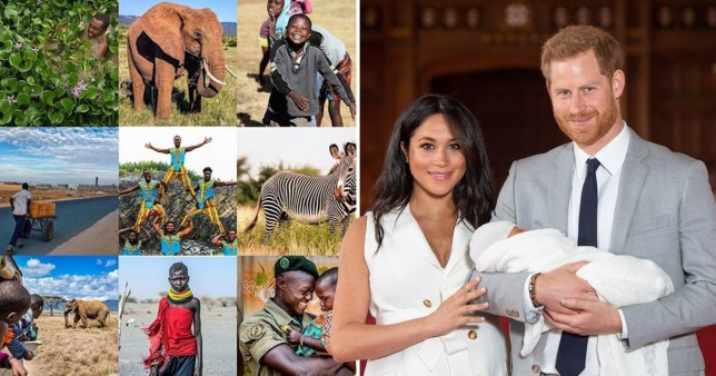 The Duke and Duchess of Sussex with baby Archie Harrison Mountbatten-Windsor and images of Africa