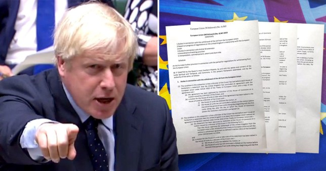 Boris Johnson and bill which if passed would make it illegal to leave the EU without a deal