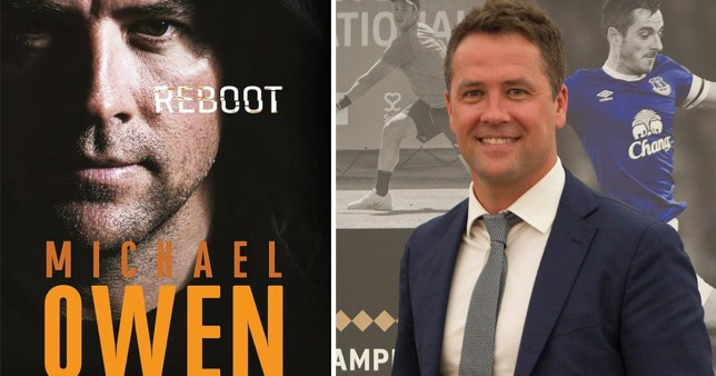 The cover of Michael Owen's new book Reboot alongside a picture of footballer Michael Owen