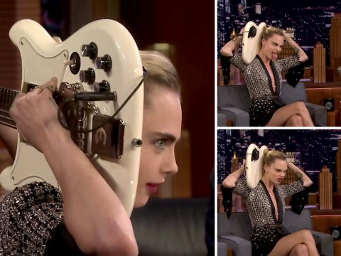 Cara Delevingne can play the guitar behind her head and we're mighty impressed