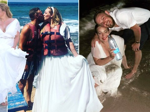 Bride loves her £650 wedding dress so much she refuses to take it off to go swimming