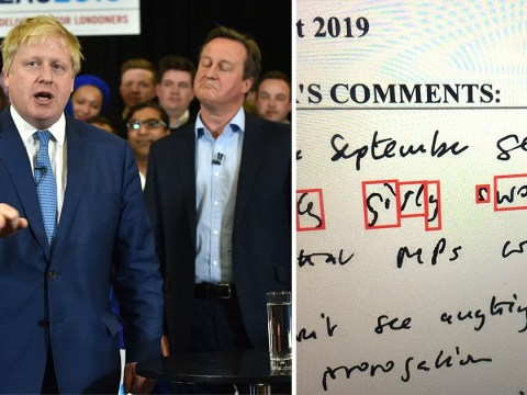 Boris Johnson called David Cameron 'girly swot' in leaked note