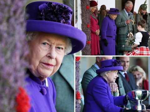 The Queen and Prince Charles brave the cold at Braemar Gathering