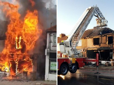 Moment massive fire completely destroys hairdressers