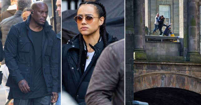 Nathalie Emmanuel and Tyrese Gibson get back to work as Fast and Furious 9 filming continues with terrifying bridge brawl