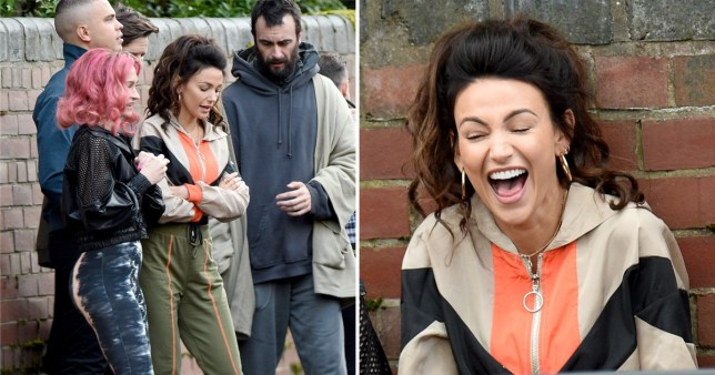 Michelle Keegan has a laugh on set as Brassic series 2 filming starts