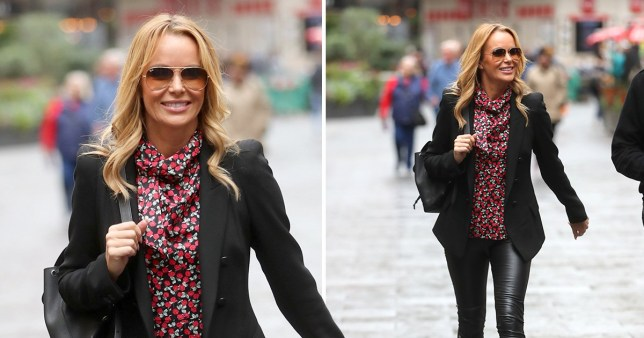 Amanda Holden in leather skintight trousers