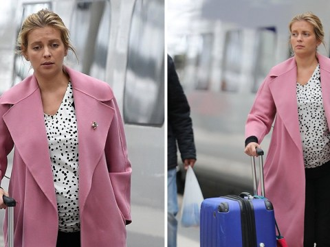 Rachel Riley is pretty in pink as she heads to Manchester to film Countdown