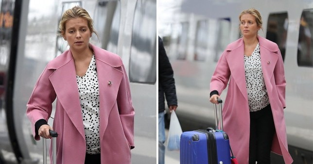 Rachel Riley is pretty in pink in Manchester for Countdown filming