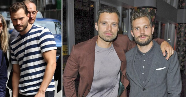 Jamie Dornan shows off his buff arms outside Variety studio in Toronto.