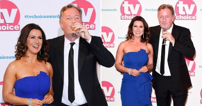 Piers Morgan sips champagne on TV Choice Awards red carpet