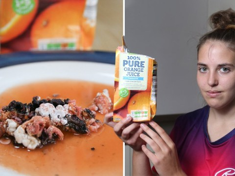 Brain-like mould slops out of orange juice from Asda