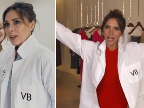 Victoria Beckham makes the lab coat chic as she launches new beauty line