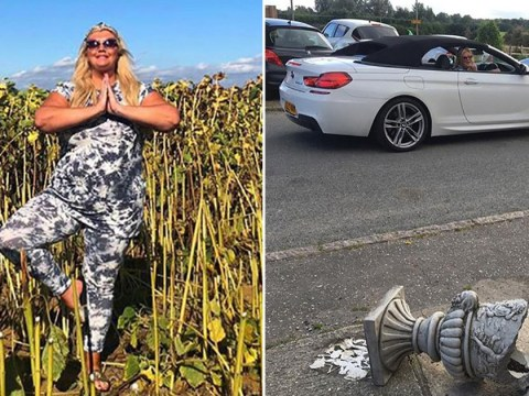 Gemma Collins blames full moon as she crashes car into plant pot after sunflower field yoga session