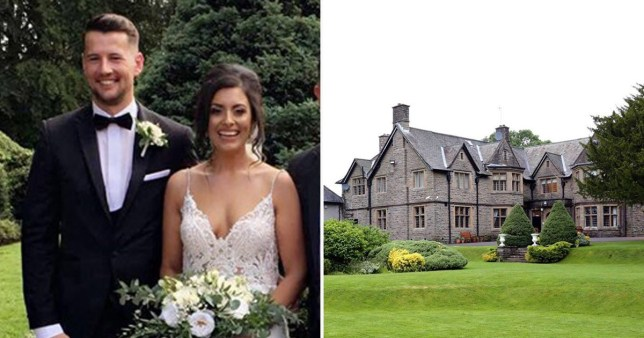 Newlyweds Chloe and Simon Ross next to picture of Maes Manor Hotel in Blackwood, South Wales