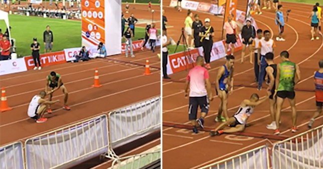 Athlete turns back and helps collapsed runner