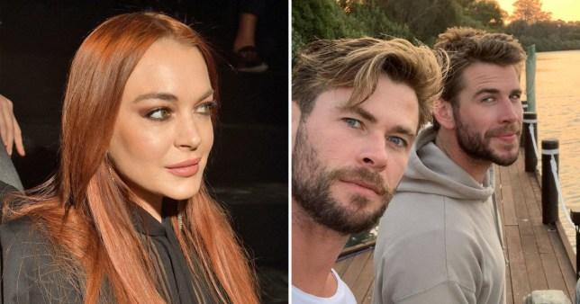 Lindsay Lohan is creeping on the Hemsworths