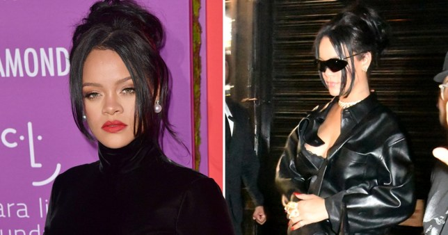 Rihanna looks sensational as she rocks all-black leather look after bizarre pregnancy rumours
