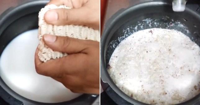 Pics of ramen being cooked in milk