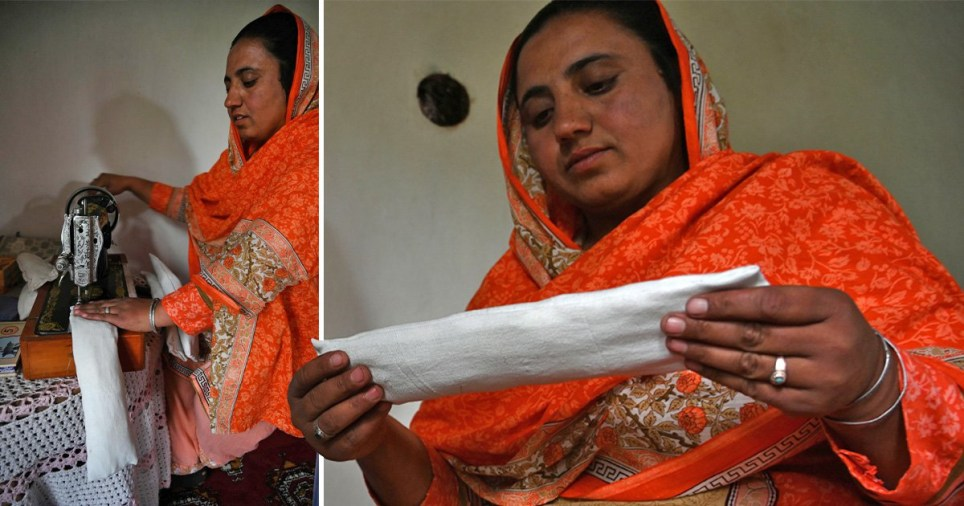 Woman uses sewing machine to make her own sanitary pads