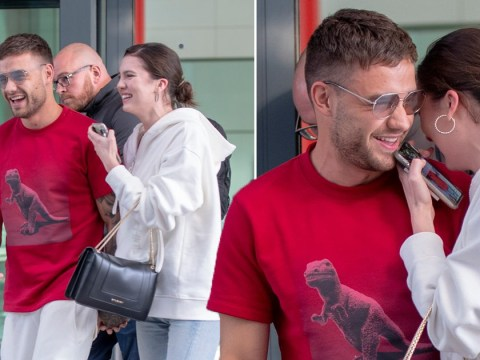 Liam Payne is a boy in love as he giggles and cuddles girlfriend Maya Henry after going public